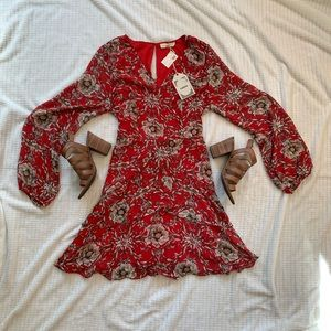 Gorgeous red floral long sleeve dress
